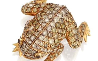 An eighteen karat gold, diamond, and yellow diamond brooch...