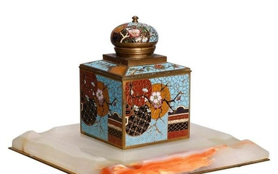 Antique Chinese Aesthetic Movement Cloisonne and Onyx
