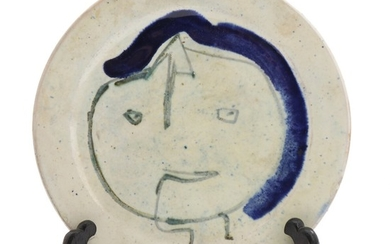 Asger Jorn: Figure composition. Signed and dated Jorn - 53. Glazed earthenware plate. Diam. 17 cm.