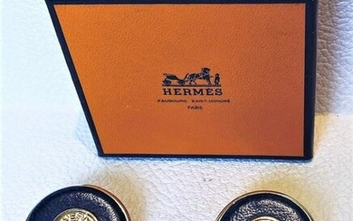 Authentic Hermes Lether and Gold Ear Rings Clip