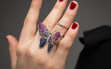BAGUE PAPILLON ARTICULEE A ruby, sapphire, diamond and gold ring.