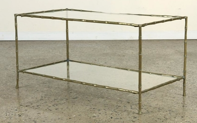 BRASS GLASS COFFEE TABLE MANNER OF BAGUES C.1960