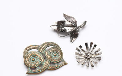 BROOCHES, 3 pcs, including silver and bronze, 20th century.
