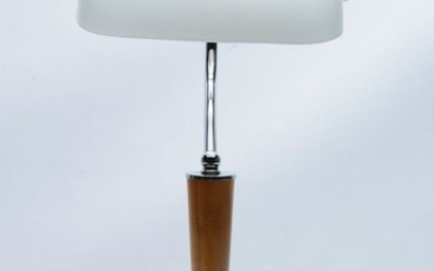 Banker's table lamp with chrome base and white shade, H45cm