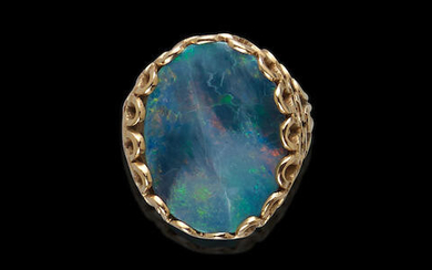 Black Opal and Gold Ring