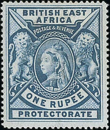 British East Africa 1897-1903 1r. grey-blue (2) and 3r. deep violet, unused with large part or...
