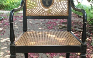 British Regency style black lacquered & parcel gilt Chinoiserie decorated cane armchair c1930 GC3A