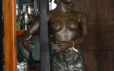 Bronze sculpture, Egyptian lady with harp (inspired by 'Tahoser' by Georges Charles Coudray), h. 186 cm.