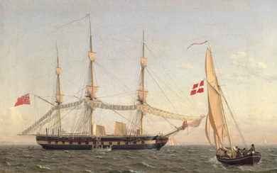 C. W. Eckersberg: An English frigate at anchor, drying sails and a Danish pilot boat. Signed and dated E 1822. Oil on canvas. 39×54.5 cm.