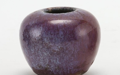 """CHINESE LANG YAO WARE POTTERY WATER COUPE With magenta flambé glaze with purple splash. Height 2""""."""