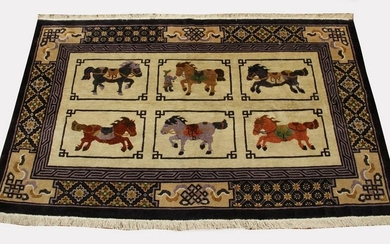 CHINESE SILK FINE WEAVE RUG, W 3', L 4'