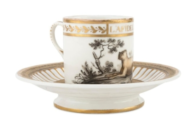 CUP AND SAUCER IN PORCELAIN - FRANCE EARLY 20TH CENTURY