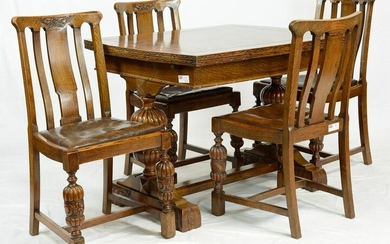 Carved Oak British Draw Leaf Dining Table & 4 Chairs