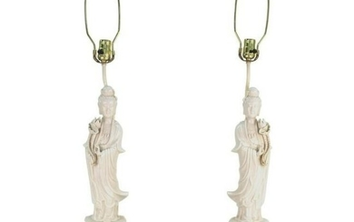 Chinese Blanc de Chine Guanyin Table Lamps
