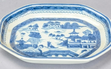 Chinese Canton Blue & White Porcelain Open Dish