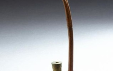 Chinese Carved Wooden and Brass Smoking Pipe, 20th c.
