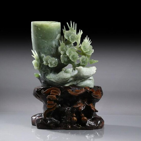 Chinese Green Jade Carved Birds and Flowers on Stand