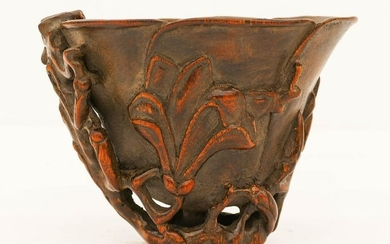 """Chinese Sandlewood Carved Libation Cup 6.5"""""""