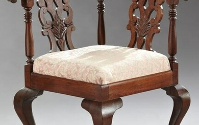 Chippendale Style Carved Mahogany Corner Chair, early