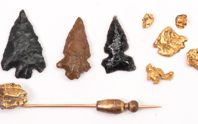 Collection of natural gold nugget and arrowhead items