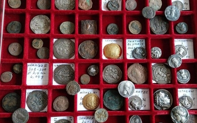 Collection of various antique coins including