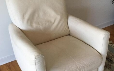 Contemporary White Leather Reclining Arm Chair