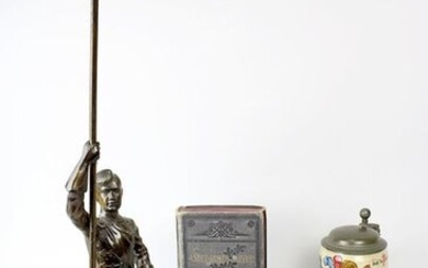 Convolute Studentika, late 19th century, consisting of: Jug of the Hannoverania fraternity, with coat of arms, motto and date. 1897, h: 15 cm; regular figure of a fraternity member in full cum, holding a flagpole, but without the flag, on marble base...