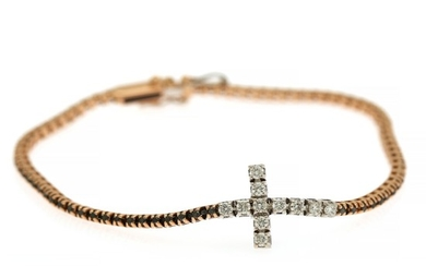 Crieri: A diamond bracelet set with numerous brilliant-cut diamonds, mounted in 18k rose and white gold. L. 15 cm.
