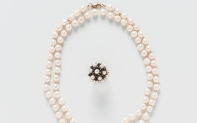 Cultured Pearl Necklace and a 14kt Gold, Pearl, and Sapphire Cluster Ring
