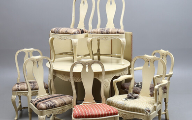 DINING GROUP, 8 parts, rococo style, 20th century.