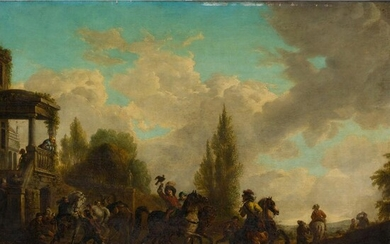DUTCH SCHOOL (17TH CENTURY) DEPARTING FOR THE HUNT