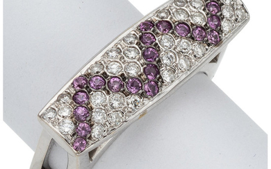 Diamond, Pink Sapphire, White Gold Ring The ring features...