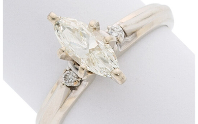 Diamond, White Gold Ring The ring features a marquise-shaped...