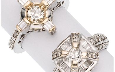 Diamond, White Gold Rings The rings feature a circular...