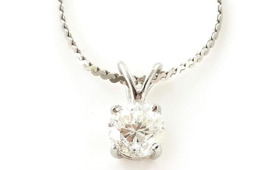 Diamond solitaire pendant on chain