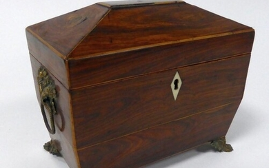 EARLY NINETEENTH CENTURY LINE INLAID ROSEWOOD TEA CADDY, of ...