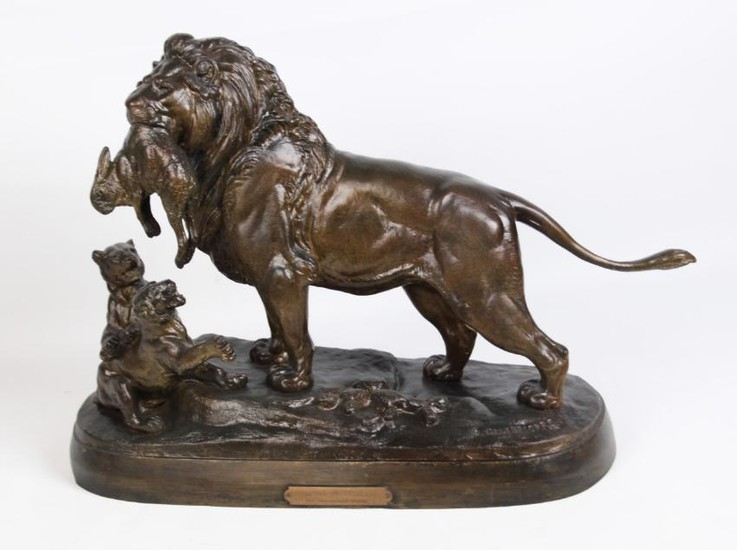 E.DELABRIERRE, 19TH C. FRENCH BRONZE OF LION W/CUBS
