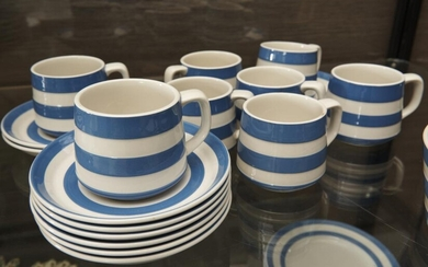 EIGHT BLUE AND WHITE CORNISHWARE TEA CUPS AND SAUCERS, LEONARD JOEL LOCAL DELIVERY SIZE: SMALL