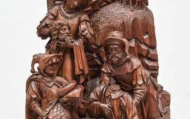 EXCEPTIONAL LARGE RETABLE GROUP in carved oak with...