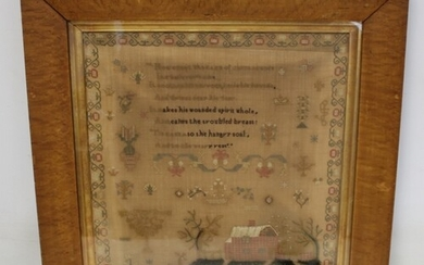 Early 19th century petit point needlework sampler by Elizabe...