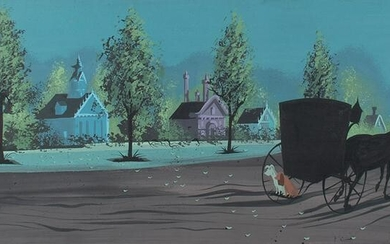 Eyvind Earle concept storyboard painting from Lady and