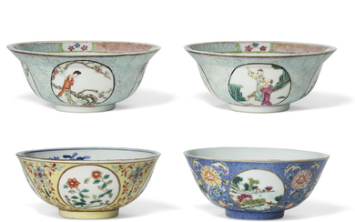FOUR FAMILLE ROSE 'MEDALLION' BOWLS, LATE QING DYNASTY