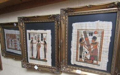 FOUR GILT FRAMED AND GLAZED EGYPTIAN PAINTINGS ON PAPYRUS LE...