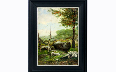 """FRENCH SCHOOL - ECOLE DE BARBIZON nineteenth century oil painting on canvas : """"Landscape"""" - 35,5 x 25 with annotation on verso prov : former collection Mrs. Debray - Brussels (1927) 