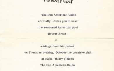 FROST ROBERT: (1874-1963) American Poet, Pulitzer Prize winner. A small 4to printed invitation issue...