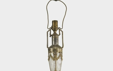 Fine Cut Glass and Bronze Neo Classical Table Lamp