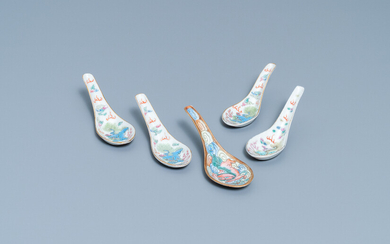 Five Chinese famille rose 'Buddhist lion' spoons, 19th C.