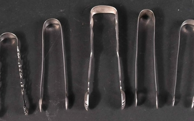 Five Sterling and Coin Silver Sugar Tongs