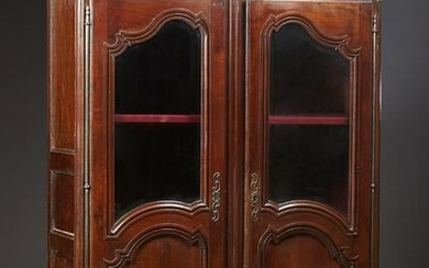 French Provincial Louis XV Style Carved Cherry Armoire