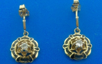 GORGEOUS Victorian 14k Yellow Gold Diamond and Enamel